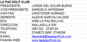 La Paz Golf Club Datos